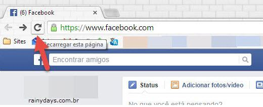 recarregar página do Facebook