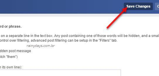 salvar palavras para esconder posts no Facebook Social Fixer