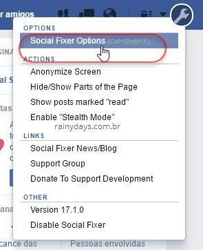 Social Fixer Options no Facebook
