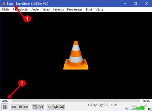 VLC fluxo gravando tela do Windows