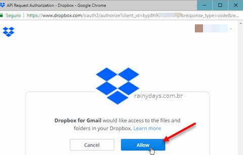 Allow permitir Dropbox para Gmail acessar ao Dropbox