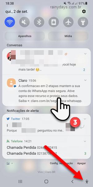 Ativar ampliação para aumentar o tamanho das notificações Android