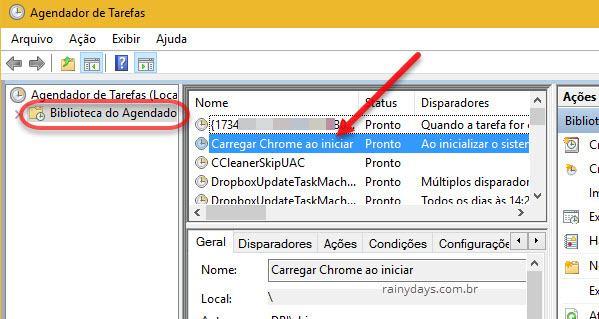 biblioteca do agendador de tarefas inicar programa ao ligar Windows