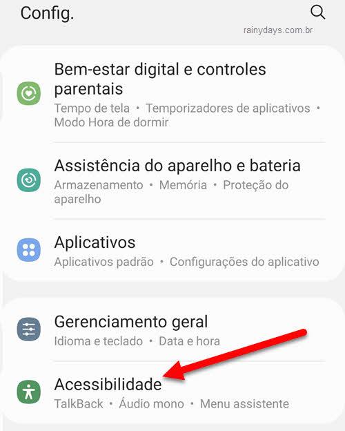 configurações de acessibilidade no Android
