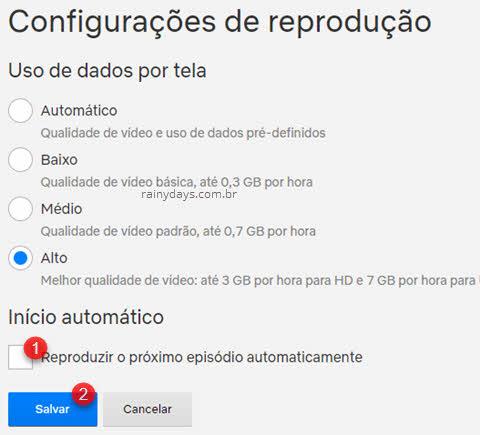 configurações de reprodução reproduzir próximo automaticamente Netflix