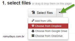 Converter arquivos direto para Dropbox