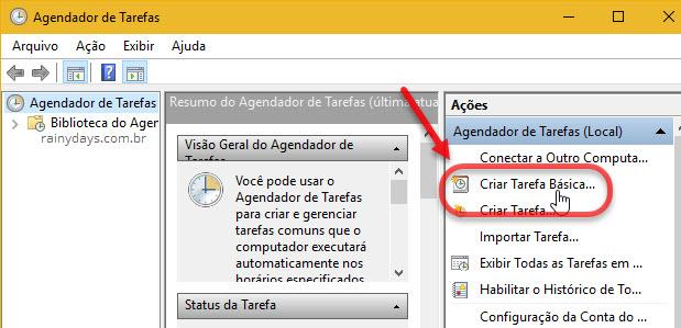 Criar tarefa básica Agendador do Windows