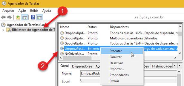 Executar tarefa Agendador de Tarefas Windows