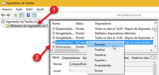Executar tarefa Agendador de Tarefas Windows para excluir arquivos automaticamente