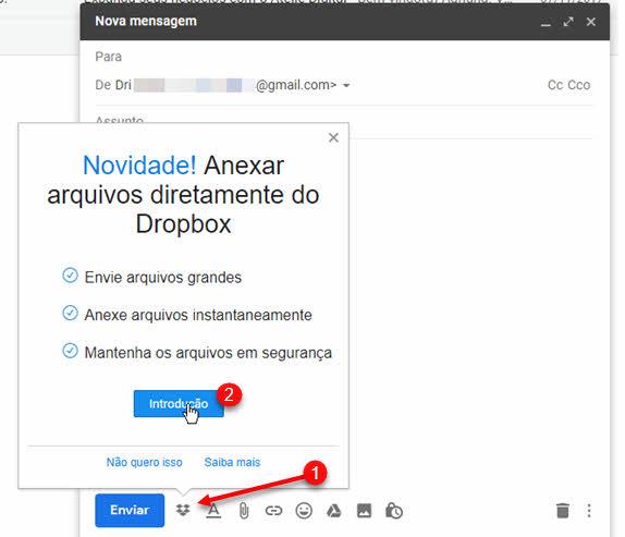 Extensão Dropbox para Gmail do Chrome