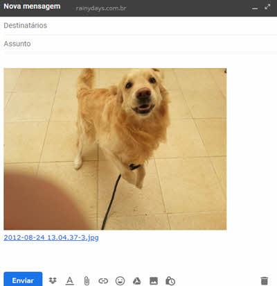 Foto do Dropbox anexada no Gmail usando extensão
