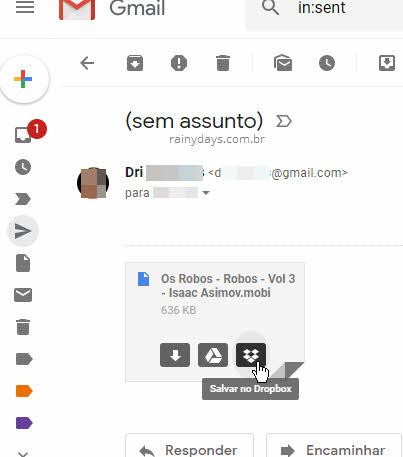 ícone Salvar no Dropbox extensão Dropbox para Gmail Chrome