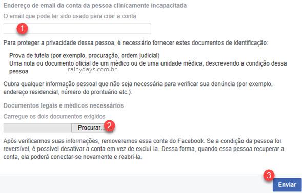 Pedir para remover perfil Facebook de pessoa incapacitada