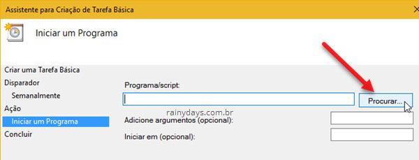 Procurar programa para tarefa do Windows
