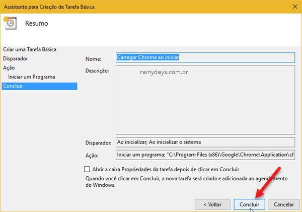 resumo tarefa criada no Windows iniciar Chrome