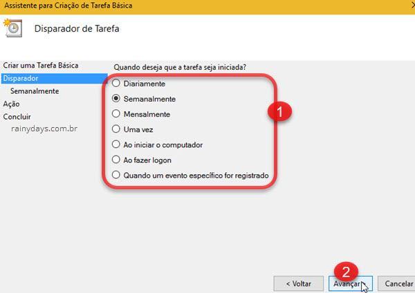 selecionar quando deseja que tarefa seja realizada no Windows