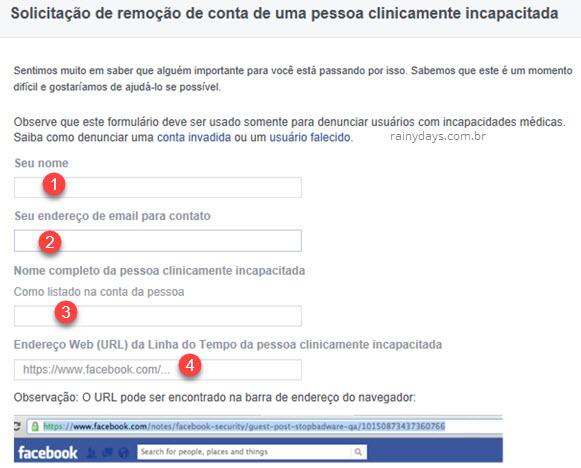 Como solicitar remoção de conta do Facebook