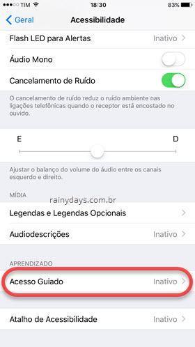 Acessibilidade Acesso Guiado iOS