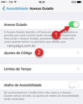 Acesso Guiado Ajustes de Código iOS