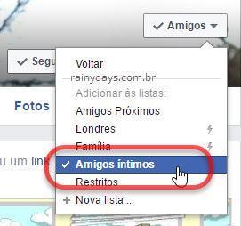 Adicionar amigo em lista específica do Facebook