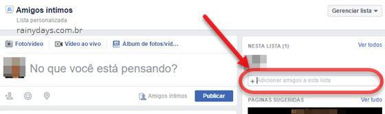 Adicionar amigos a lista do Facebook