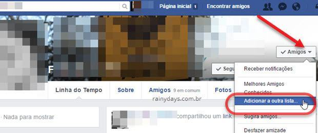 Adicionar amigos em outra lista do Facebook