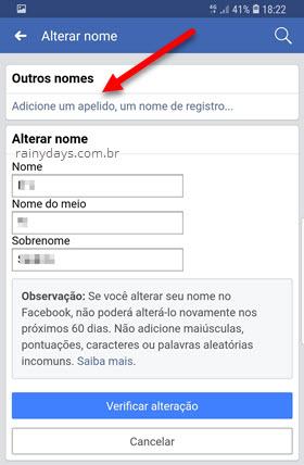 Adicionar apelido Facebook Android iOS