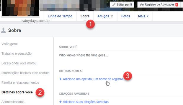 Comoadicionar apelido no Facebook