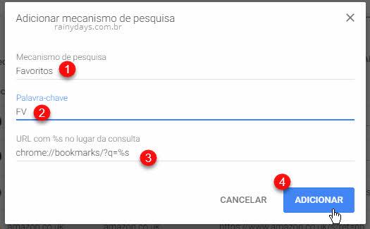 Adicionar mecanismo de pesquisa no Chrome Favoritos