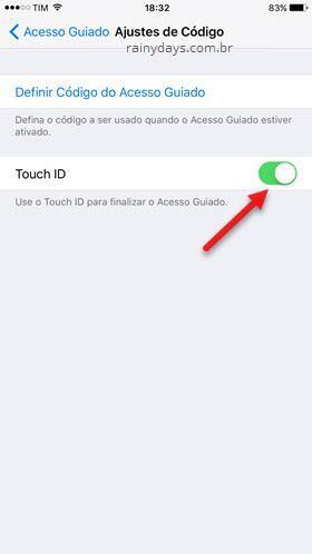 Ajustes de código Touch ID iOS