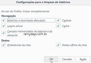 Apagar histórico automaticamente ao fechar navegador Firefox 2