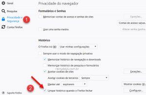 Apagar histórico automaticamente ao fechar navegador