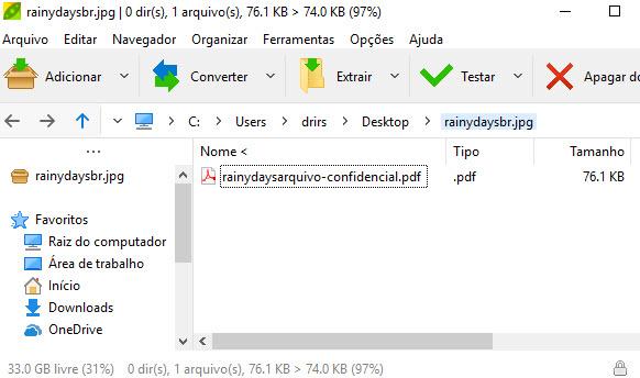 arquivo escondido na imagem do Windows