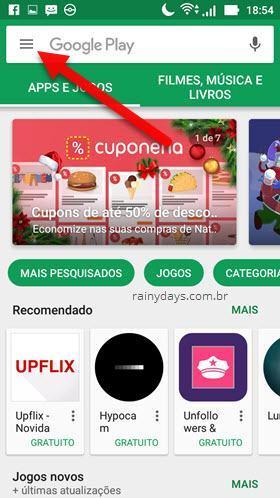 botão de três traços na Google Play Store