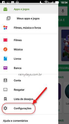 configurações da Google Play Store