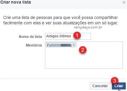 Criar nova lista de pessoas no Facebook