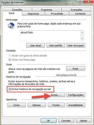 Apagar histórico automaticamente ao fechar navegador IE