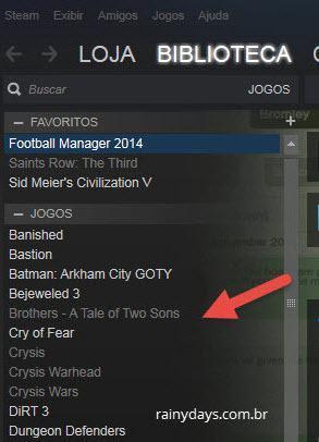 Jogos escondidos da lista de jogos do Steam
