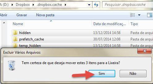 Como limpar cache do Dropbox 4