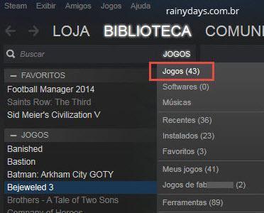 lista de jogos do Steam
