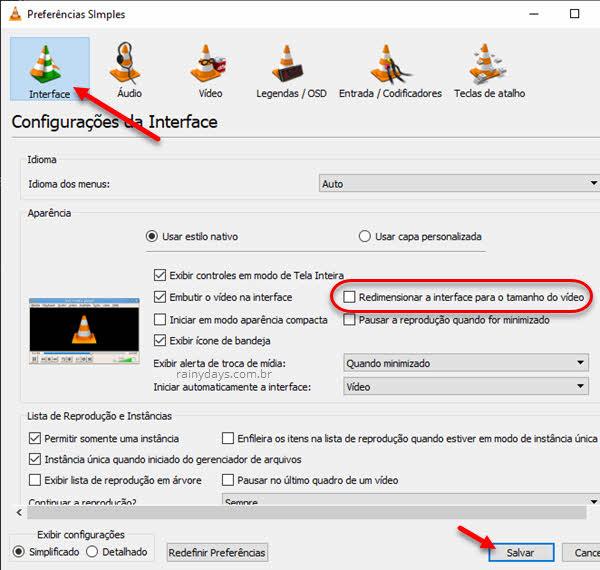Não deixar VLC redimensionar janela
