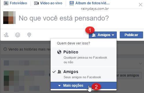 Quem deve ver isso Mais Opções Facebook