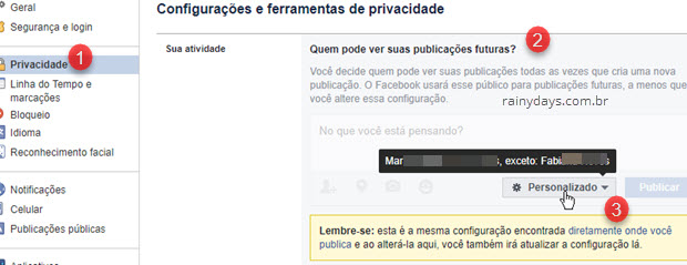 Quem pode ver suas publicações futuras Facebook