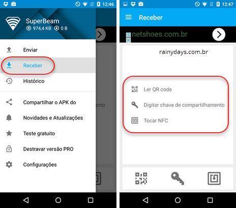 receber arquivos SuperBeam Android