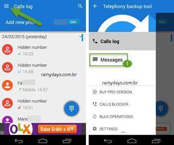 salvar ligações e SMS do Android 5