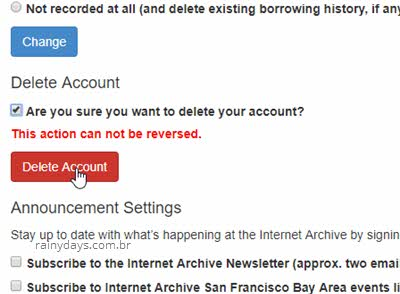 Sure you want to delete account Internet Archive