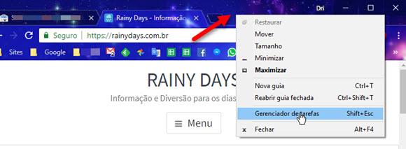 Abrir Gerenciador de Tarefas do Chrome clicando na barra superior