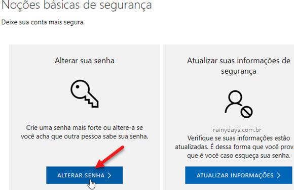 Alterar senha conta Microsoft online