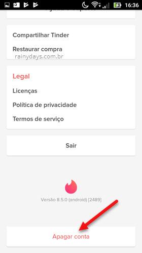 apagar conta aplicativo Tinder