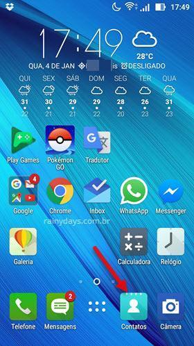 aplicativo Contatos do Android